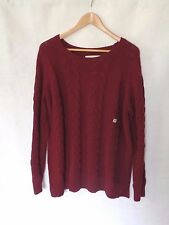 Ann Taylor LOFT Women's Sweater Cable Knit Burgundy Red Size XL NWT Camel Rayon