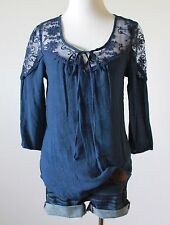 Ladies Mesh Lace Embroidered Tie Neck Gauze Boho Peasant Tee Shirt Top Blouse S