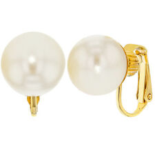 18k Gold Plated White Simulated Pearl Clip On Earrings 10mm