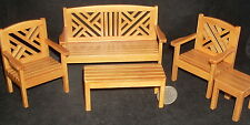 Maple Garden Set of 5 Couch Chair Table 1:12 #T5939 Patio Yard Chairs Tables