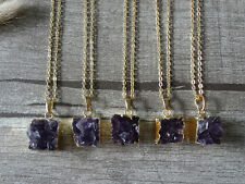 Amethyst Drusy Druzy Raw Gemstone Purple Gem Pendant Statement Necklace