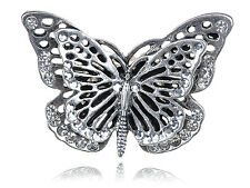 UK Big Antique Silver Clear Crystal Rhinestone Butterfly Bug Ring