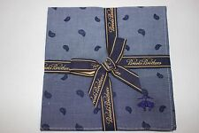 NWT BROOKS BROTHERS Men's Chambray Navy Paisley 100% Cotton Pocket Square