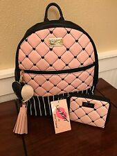 NWT BETSEY JOHNSON BACKPACK BLUSH, BONE BLACK QUILTED HEARTS & WALLET 2 PC SET
