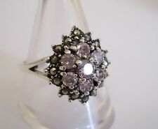 Solid Sterling Silver Marcasite + Pink CZ Cluster Ring.Size L. Good Quality.