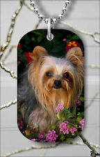 DOG YORKSHIRE TERRIER BREED DOG TAG PENDANT NECKLACE FREE CHAIN -las4Z
