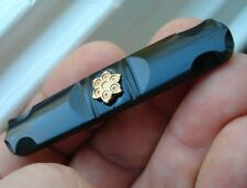 old Antique Victorian Whitby Jet black ONYX mourning flower gold brooch pin bar