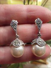 Jolies Boucles d'oreilles style ancien en ARGENT 925 avec perles et marcassites