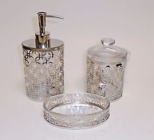 NEW BELLA LUX 3 PC SET GLASS+SILVER METAL FRAME SOAP DISPENSER+JAR+SOAP DISH