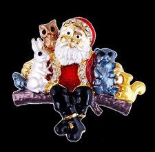 Christmas Gold-Tone Enamel & Rhinestone Santa Claus Snowman Brooch Pins Crystal
