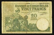"""VG+ as Scans"" 1912-1937 1929 Belgian Congo 20 Francs P-10f, Scan-031"