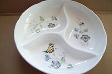 LENOX 3 COMPARTMENT BUTTERFLY MEADOW SERVING CONDINMENT PLATE 9.5""