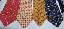 Lot of 4 Gap premium animal novelty print neckties silk ties chicken bugs cat