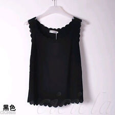 Fashion Simple Women Lady Black Chiffon Sleeveless Shirt Casual Tops Blouse Vest