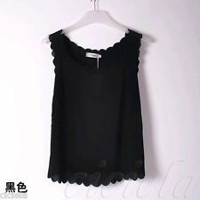 Women Hot Stylish Lady Black Chiffon Sleeveless Shirt Casual Tops Blouse Vest