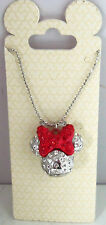 Disney Minnie Mouse Icon Necklace Red Clear Crystals Bling Jewelry Theme Parks