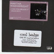 (EB649) Martha Wainwright, Can You Believe It - 2012 DJ CD