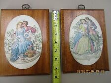 Lovers & Gardens scenes paintings antique effect pictures on hardwood frames