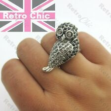 JET CRYSTAL LARGE BIRD RING art deco STATEMENT vintage silver/black rhinestone