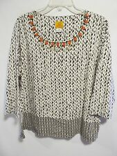 Ruby Rd women plus size 1X Brown/white Beads 3/4 sleeve Lot#15