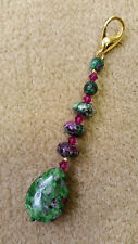 Scissor Fob - Green and magenta agate with Swarovski crystals