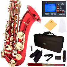 MENDINI RED LACQUERED TENOR SAXOPHONE SAX W/ TUNER, CASE, CAREKIT