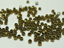 2000 pcs Bronze Brass Round 2.0mm Crimp End Beads Jewelry Finding