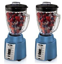 TWO) Oster BCCG08 450 Watt 8-Speed 6-Cup Blender, Blue, with Ice Crushing Blade