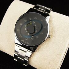 Mens Silver PAIDU Stainless Steel Quartz Wrist Watch Turntable Dial Hours