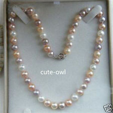 """Beautiful Natural 8mm Multicolor Freshwater Cultured Pearl Necklace 18""""AAA+"""