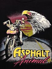 Biker Asphalt Animal Eagle Motor Cycle Bike Black T Shirt Large