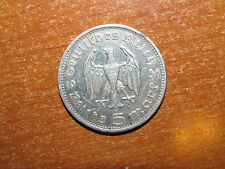 Nazi Germany 1936 G silver 5 Reichsmark coin Very Fine nice