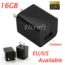 16GB HD 1080P Mini AC Adapter Plug Charger Hidden spy camera cycle Recording DVR