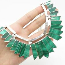 Mexico Vtg 925 Sterling Silver Malachite Gemstone Unique Tribal Wide Necklace 16