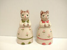 Vintage Salt & Pepper Shakers Otagiri Kitty Cats in Dresses with Fish S&P Japan