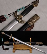 "Rare Chinese Swords ""TaiJi Sword""(剑) Folding Pattern Steel Blade Copper Fittings"