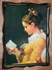VINTAGE * Ancien TABLEAU  La Liseuse sur BOIS d'après le tableau de Fragonard