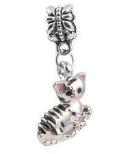 1Pcs Fashion Cute Pink Cat Charms Silver Pendant bead Fit Bracelet/Necklace