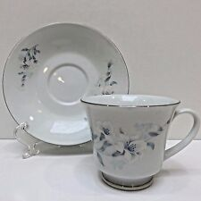 Chinese White Lilly Teacup & Saucer Silver Edges, China