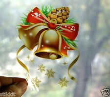 Reusable Sticker Decal Christmas Bells GOLD Snowflakes for Window SELF CLING C11