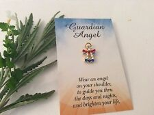 ANGEL Red Crystal Blue Lapel Hat Pin Brooch Goldtone rhinestone Gift 17mm