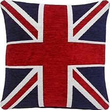 "STUNNING THICK HEAVYWEIGHT CHENILLE RED WHITE BLUE UNION JACK 18"" CUSHION COVER"