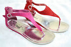 CHILDRENS GIRLS KIDS SANDALS FLATS LOW WEDGE DIAMANTE PARTY SHOES SUMMER PINK
