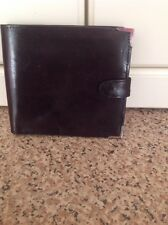 GREAT MAYFAIR DARK BROWN LEATHER MENS WALLET USED SIGNS OF USE TO METAL CORNERS