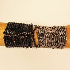 Set of 2 Black Silver Multi Strand Handmade Cleo Stretch Seed Bead Bracelets