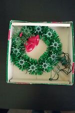 VINTAGE HOLIDAY TRIM 12 LIGHT TREE TOP TOPPER GREEN TINSEL W/ LIGHTED RED BELLS