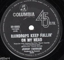 "JOHNNY FARNHAM Raindrops Keep Fallin´On My Head *AUSTRALIA ORIGINAL COLUMBIA 7""*"