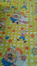 Vintage Raggedy Ann And Andy Double/Full Flat Sheet As Is(C2)