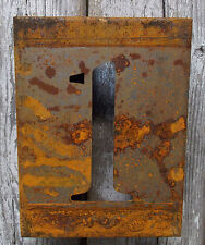 "NUMBER ""1"" RUSTY FINISH 8"" LASER CUT METAL BLOCK NUMBER RUSTIC DECOR RUSTED SIGN"