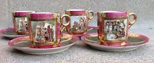 ANTIQUE ROYAL VIENNA Portrait Painted Set of 4 Cups & Saucers